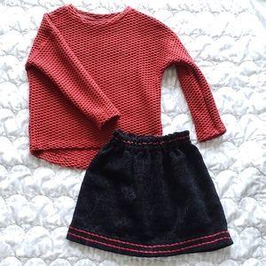 EUC! ZARA outfit jacquard skirt & textured sweater